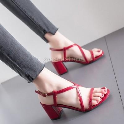サンダル レディース チャンキーヒール エナメル 6cm ヒール クロス バックストラップ 歩きやすい サマーサンダル 太ヒール ストラップサンダル 婦人靴