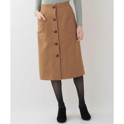 OFUON / オフオン 【洗える】ウールライクフロントボタンスカート