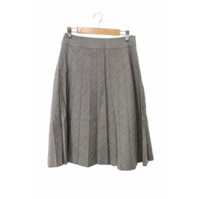 【中古】NATURAL BEAUTY BASIC スカート プリーツ ひざ丈 ミモレ ウール シルク混 総柄 S グレー /YS18 レディース
