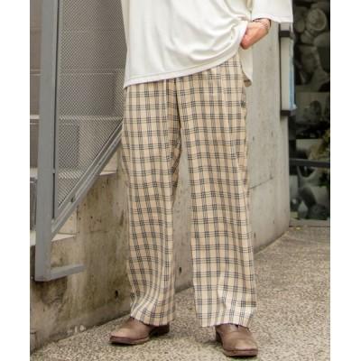 パンツ スラックス ファッションインフルエンサー ろむし × BASQUE magenta チェックワイドイージーパンツ