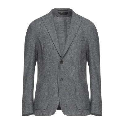 ZZEGNA テーラードジャケット グレー 48 ウール 56% / コットン 35% / リネン 9% テーラードジャケット