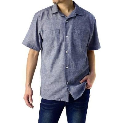 (フラグオンクルー) FLAG ON CREW 開襟シャツ メンズ 半袖 麻混 リネンシャツ ゆったりサイズ 無地 ストライプ / A8N