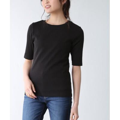(Honeys/ハニーズ)5分袖ボート衿Tシャツ/レディース ブラック