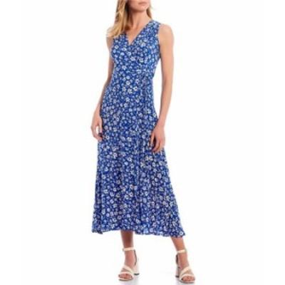 カルバンクライン レディース ワンピース トップス Floral Printed Sleeveless V-Neck A-Line Midi Dress Klein Blue Multi