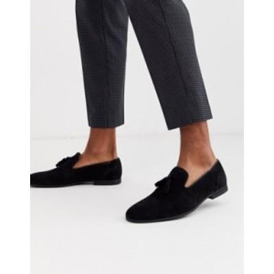 エイソス メンズ スリッポン・ローファー シューズ ASOS DESIGN tassel loafers in black faux suede Black