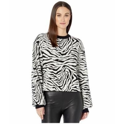 ザ・クープルス ニット&セーター アウター レディース Ribbed, Knit, Crew Neck Pullover in a Zebra Print Black/White