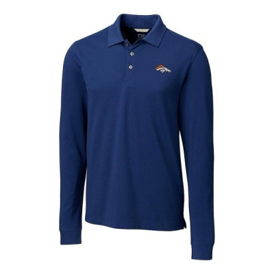 デンバー・ブロンコス Cutter & Buck Advantage Long Sleeve ポロシャツ - Navy