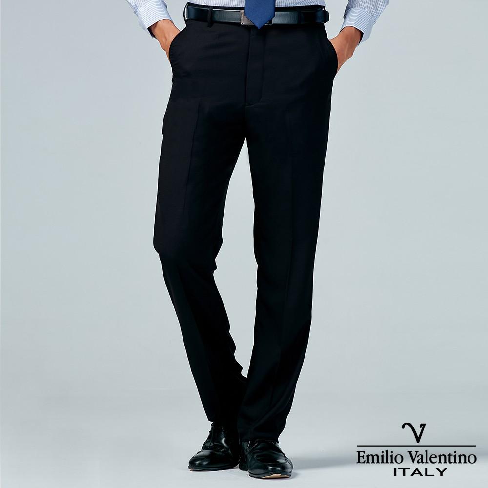 Emilio Valentino 范倫提諾商務平面西裝褲-黑