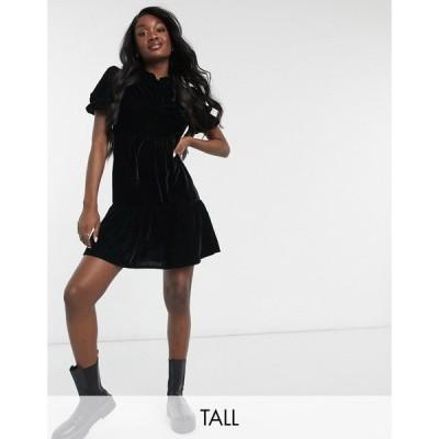ヴァイオレット ロマンス Violet Romance Tall レディース ワンピース Aライン ワンピース・ドレス tiered velvet mini dress ブラック