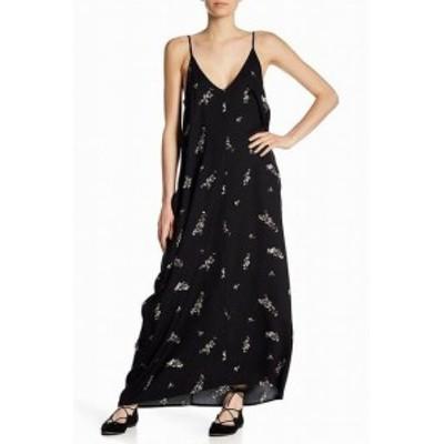 Maxi  ファッション ドレス Love Stitch NEW Black Womens Size Large L Floral V-Neck Maxi Dress