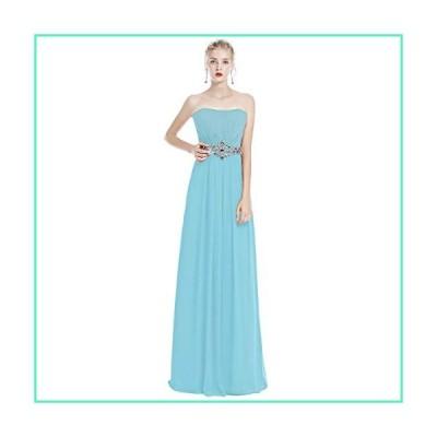 IWEMEK Women Strapless Ruched Long Bridesmaid Evening Maxi Dress Sweetheart Chiffon Formal Wedding Party Prom Gown Light Blue 22並行輸入品