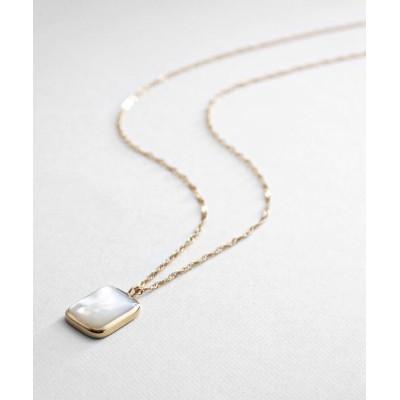 COCOSHNIK(ココシュニック) カラーストーン(白蝶貝)カボション ネックレス