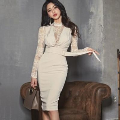 ドレス キャバドレス パーティードレス 大きいサイズ レース柄 タイト ひざ丈 フォーマル キャバ嬢 レディース