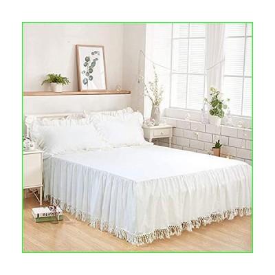 Softta California King Bed Skirt Tassel Ruffle Bedding Solid White Bohemian Boho 100% Washed Cotton