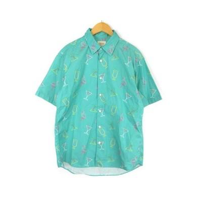 【中古】ビームス BEAMS シャツ 半袖 トロピカル 総柄 グリーン S ■IBS68 メンズ 【ベクトル 古着】