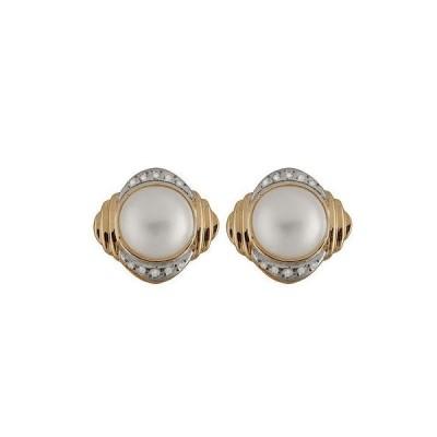 スプレンディット Pearls イヤリング アクセサリー 14K ゴールド イヤリング ウイズ 13-14ミリ Mabe パール ウイズ 0.20CT ダイヤモンド.