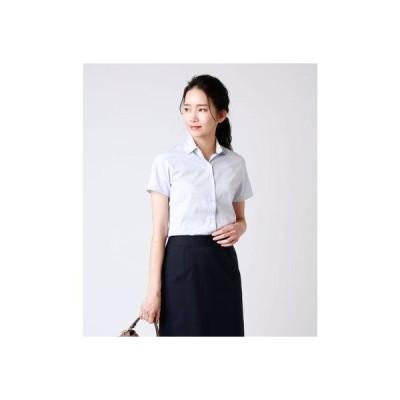 ニューヨーカー NEWYORKER ドビーストライプ半袖シャツ(スーツインナー対応) (サックス)