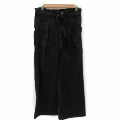 【中古】カリテ qualite パンツ ワイド ロング丈 ウエストリボン 無地 1 黒 ブラック /YK4 レディース