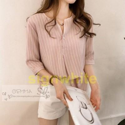 レディースシャツブラウストップスストライプ柄大きいサイズ夏秋五分袖半袖おしゃれきれいめトレンド