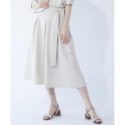 ◆【大きいサイズあり・13号・15号】リネンライクフレアスカート