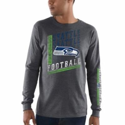 Majestic マジェスティック スポーツ用品  Majestic Seattle Seahawks Heathered Charcoal Dual Threat Long Sleeve T-Shi