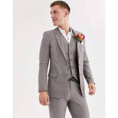 エイソス メンズ ジャケット&ブルゾン アウター ASOS DESIGN wedding slim jacket in violet gray melange Grey