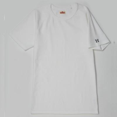 [ハリウッド ランチ マーケット]ストレッチフライス クルーネック半袖Tシャツ ホワイト(青H刺しゅう) 2(M) メンズ アウター/トップス 3(L)