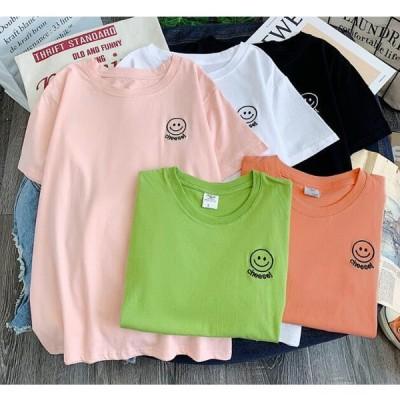 春夏新作 レディース Tシャツ トップス 半袖 韓流 笑顔 カジュアル 5色M-2XL