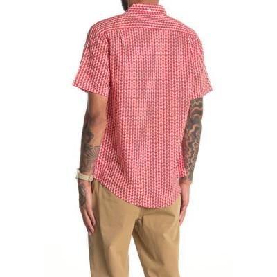 オニア メンズ シャツ トップス Jack Linen Blend Geo Print Slim Fit Shirt FLAME