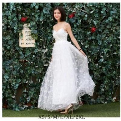 キャミソールドレス ロングドレス 20代30代40代 結婚式 同窓会 フォマールドレス ウエディングドレス きれいめ 大きいサイズ 演出会
