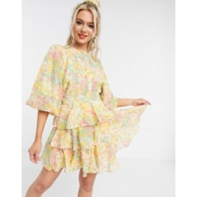 エイソス レディース ワンピース トップス ASOS DESIGN soft tiered mini dress in ditsy floral print Pink/yellow floral