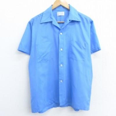 古着 半袖 シャツ 70年代 70s タウンクラフト ペニーズ 開襟 オープンカラー 薄紺 ネイビー Lサイズ 中古 メンズ トップス シャツ トップ