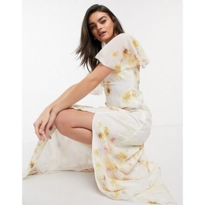 ホープ&アイビー Hope & Ivy レディース パーティードレス Bridesmaid Cross Back Maxi Dress With Cape Detail And Leg Split In Soft Yellow Floral