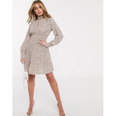 アイビーラベル ミディドレス レディース Ivyrevel long sleeve shirred waist tiered skater dress in multi floral エイソス ASOS マルチカラー