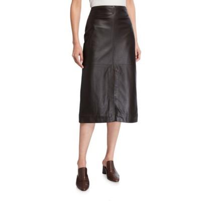 コー レディース スカート ボトムス Knee-Length Paneled Leather Skirt