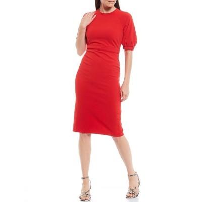 マギーロンドン レディース ワンピース トップス Petite Size Puff Sleeve Stretch Crepe Sheath Dress Candy Apple