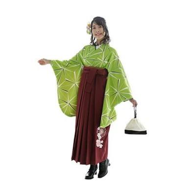 袴セット「麻の葉緑 袴えんじ刺繍」 Lサイズ