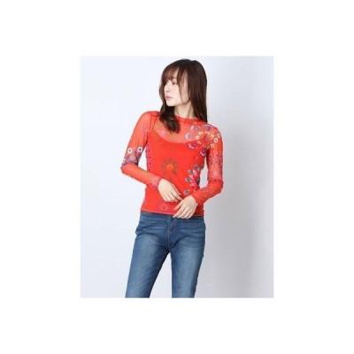 デシグアル Desigual Tシャツ長袖 CRACOVIA (ピンク/レッド)