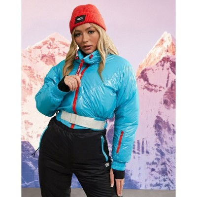 エイソス コート レディース ASOS 4505 ski funnel neck ski crop jacket with belt エイソス ASOS ブルー 青