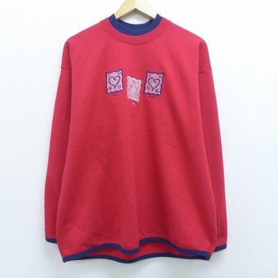 古着 レディース 長袖 スウェット ハート 刺繍 ラインストーン 大きいサイズ クルーネック 赤 レッド 20aug19 中古 スエット トレーナー トップス