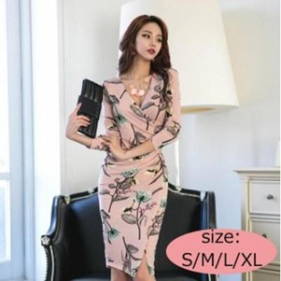 Vネックタイトドレス ドレス ワンピース タイトドレス 花柄 ピンク Vネック 膝丈 スリット 七分袖 可愛い セクシー