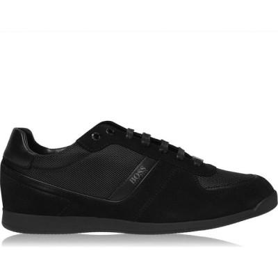 ヒューゴ ボス BOSS メンズ スニーカー シューズ・靴 Glaze Nylon Suede Trainers Black Suede