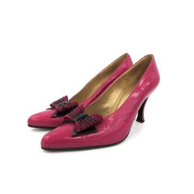 【中古】イヴサンローラン YVES SAINT LAURENT パンプス ハイヒール 8cm ポインテッドトゥ リボン 35.5 22.5cm 赤紫 レディース 【ベクトル 古着】