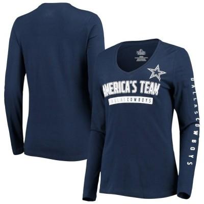 ファナティクス ブランデッド レディース Tシャツ トップス Dallas Cowboys NFL Pro Line by Fanatics Branded Women's Team Slogan Long Sleeve V-Neck T-Shirt