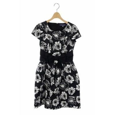 【中古】エムズグレイシー M'S GRACY 花柄 ウエストリボン ワンピース フレア ひざ丈 半袖 36 黒 オフホワイト