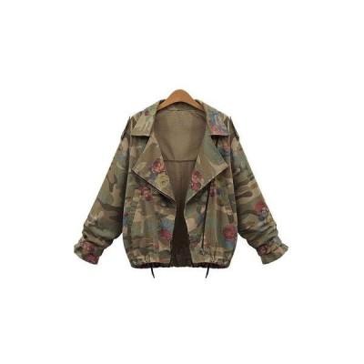レディース ジャケット 迷彩 ミリタリー ライトアウター カモフラ シンプル 長袖 大きいサイズ  送料無料