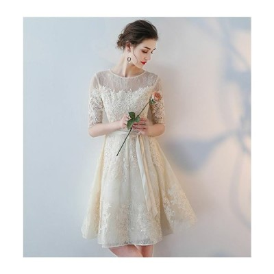 パーティードレス レース ワンピース 結婚式 服装 40代 女性 ドレス レディース ファッション 30代 50代 20代 お呼ばれ 親族 膝丈 ミディ丈 フレア