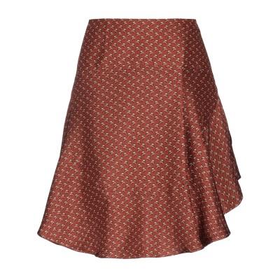 マスコブ MASSCOB ひざ丈スカート 赤茶色 36 シルク 100% ひざ丈スカート