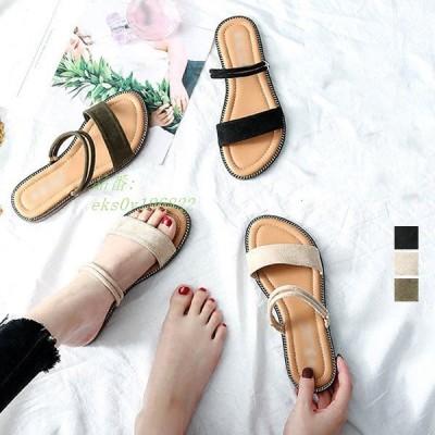 3ways サンダル フラット 靴 女性 コンフォートサンダル 大人 大きいサイズ 春夏 小さいサイズ