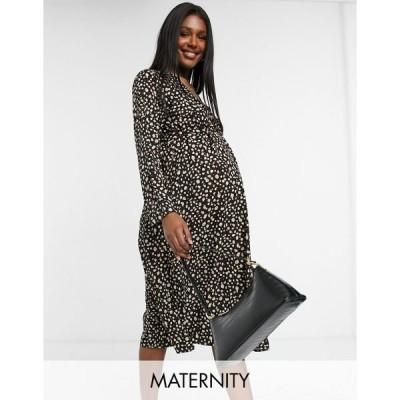 ママライシアス レディース ワンピース トップス Mamalicious Maternity wrap midi dress in black smudge print Multi